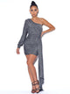 Stardust One Sleeve Draping Silver Metallic Dress