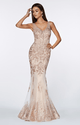 Cinderella Divine - AM186 Gold / Rose Gold - Fitted embelished lace gown with illusion beaded straps, v-nckline and open back.