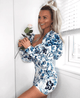 Floral Sweetheart Neckline Puff Sleeve Mini Dress (Pre Order & Save)