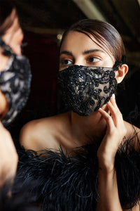 Rococo Beaded Couture Mask - Black Nude *Incoming 09/20*