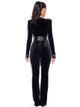 Gemma Black Long Sleeve Low V Velvet Jumpsuit