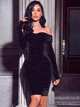 Leanne- Velvet Off Shoulder Long Sleeve Black Bodycon Dress - Betty Glam Boutique