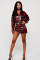 Adeline Burgundy Vegan Leather Snakeskin Skirt Set (Pre-Order)