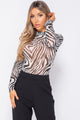 Gibby Zebra Long Sleeves High Neck Sheer Bodysuit