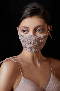 Rococo Beaded Couture Mask - Dusty Rose
