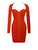 Madelaine Long Sleeve Ruched Red Crepe Dress
