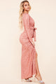 Rosaria Rose Pink Sparkle Front Twist Maxi Dress