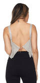 Shimmer On Silver Embellished Swing Crop Tank Top With Adjustable Back Clasps - Betty Glam Boutique