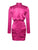 Slits and Giggles Long Sleeve Fuchsia Satin Cut Out Dress