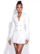 Noelle White Feather Crystal Sleeve Backless Blazer Dress