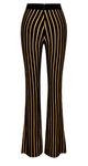 Lyons High-Waisted Black and Gold Stripe Bandage Jacquard Flared Trousers - Betty Glam Boutique