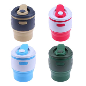 dazam - 350ml Foldable Silicone Travel Coffee Cups with Lid