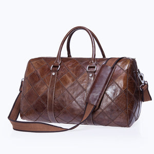 Genuine Leather Travel Duffel Bag - Dazam