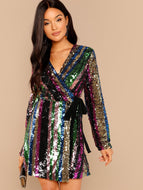 Color Block Sequin Wrap Dress
