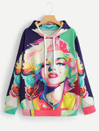 Abstract (Marilyn) Figure Hooded Sweatshirt