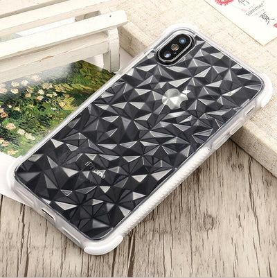Luxury Transparent Diamond Shaped Frame Soft TPU Case Cover