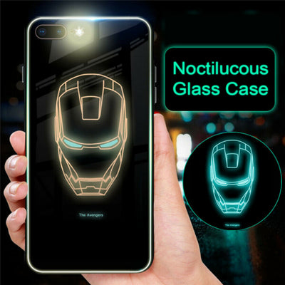 Marvel Avengers Superhero Ironman Luminous Phone Case for iPhone XS MAX XR 8 7 6 6s Plus Glass Cover Spider Venom S logo Captain