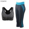 VEQKING Women Yoga Workout Set,Zipper Push Up Bra 3/4 Yoga Pant Set,Elastic Breathable Sport Running Gym Fitness Suits for Women