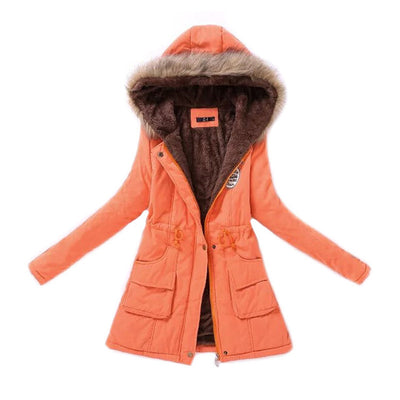 Women  Fur Collar Parka Fashion Autumn Winter Warm Jackets