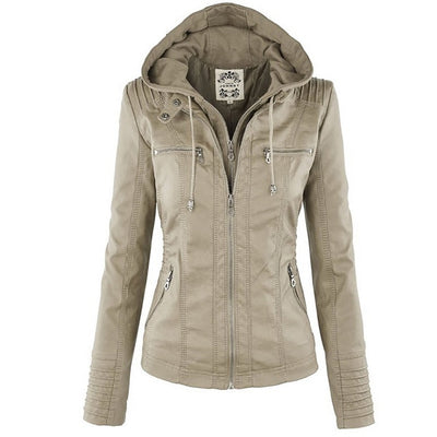 Faux Women Casual Basic Leather Waterproof Jackets