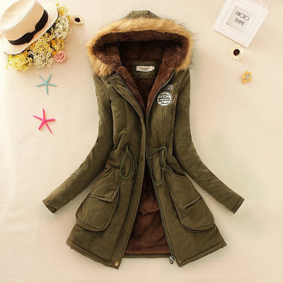 New Winter Womens Parka Casual Outwear Military Hooded Coat Fur Coats