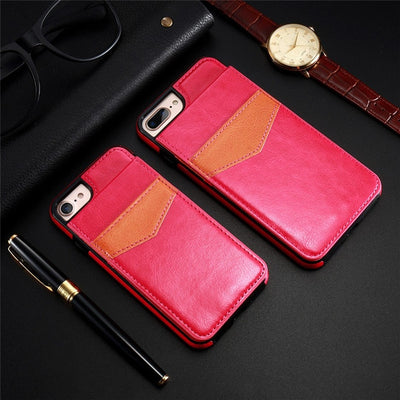 KISSCASE Vertical Flip Card Holder Leather Case For iPhone