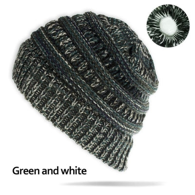 Bun Ponytail Stretch Knitted Woolen Hiking Snowboard Sport Cap