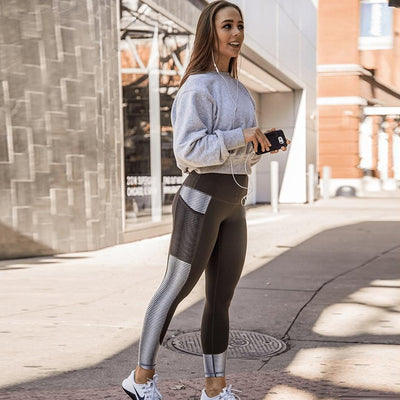SVOKOR Pocket High Waist Leggings Fitness Workout Activewear Printing Trouser