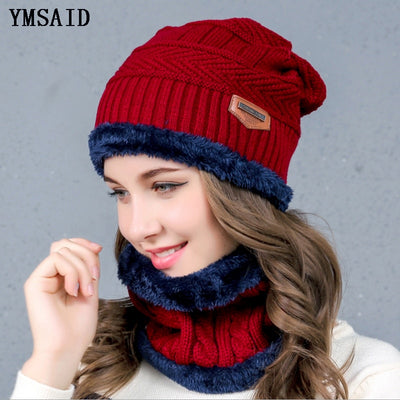 Women's Knitted Hat Scarf Caps