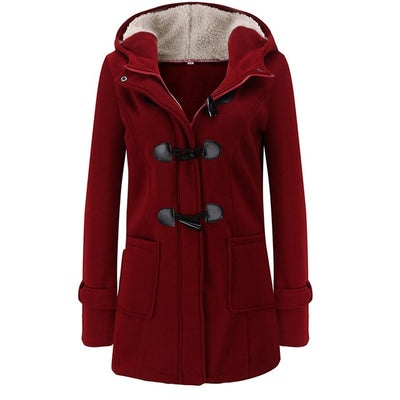 Long Sleeve Horn Button Belt Zipper Coats Woman