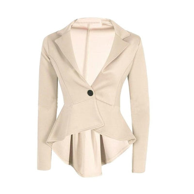 New Womens Crop Frill Shift Slim Fit Peplum Blazer Jacket Coat Ladies