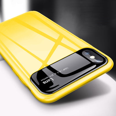 Luxury Glossy PC Case for iPhone 7 8 Plus X On 6 S Yellow Phone Cover Bag
