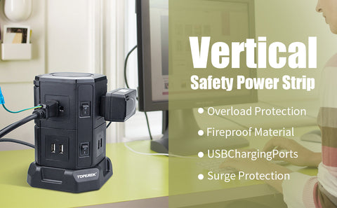 vertical safety power strip