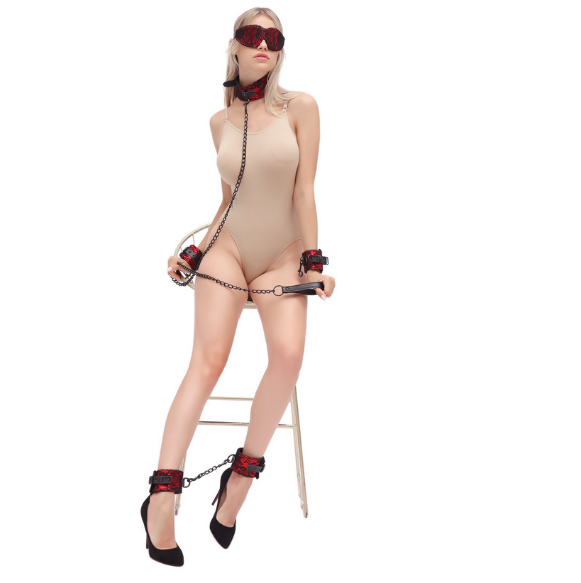 Blindfold, Collar, Hand Cuffs and Leg Cuff set