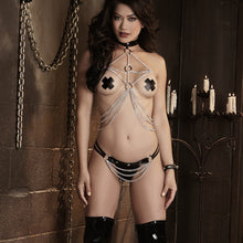 7879 Wet look Thong and Chain Set