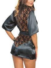 Lingerie Satin Lace Black Kimono Night Gown and Thong #412