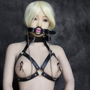 Womens Leather Straps Kinky Bra and collar set for Bondage nipple clamps #7881