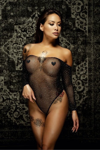 Long Sleeve Fishnet Off-the-shoulder Sparkle Bodysuit R808