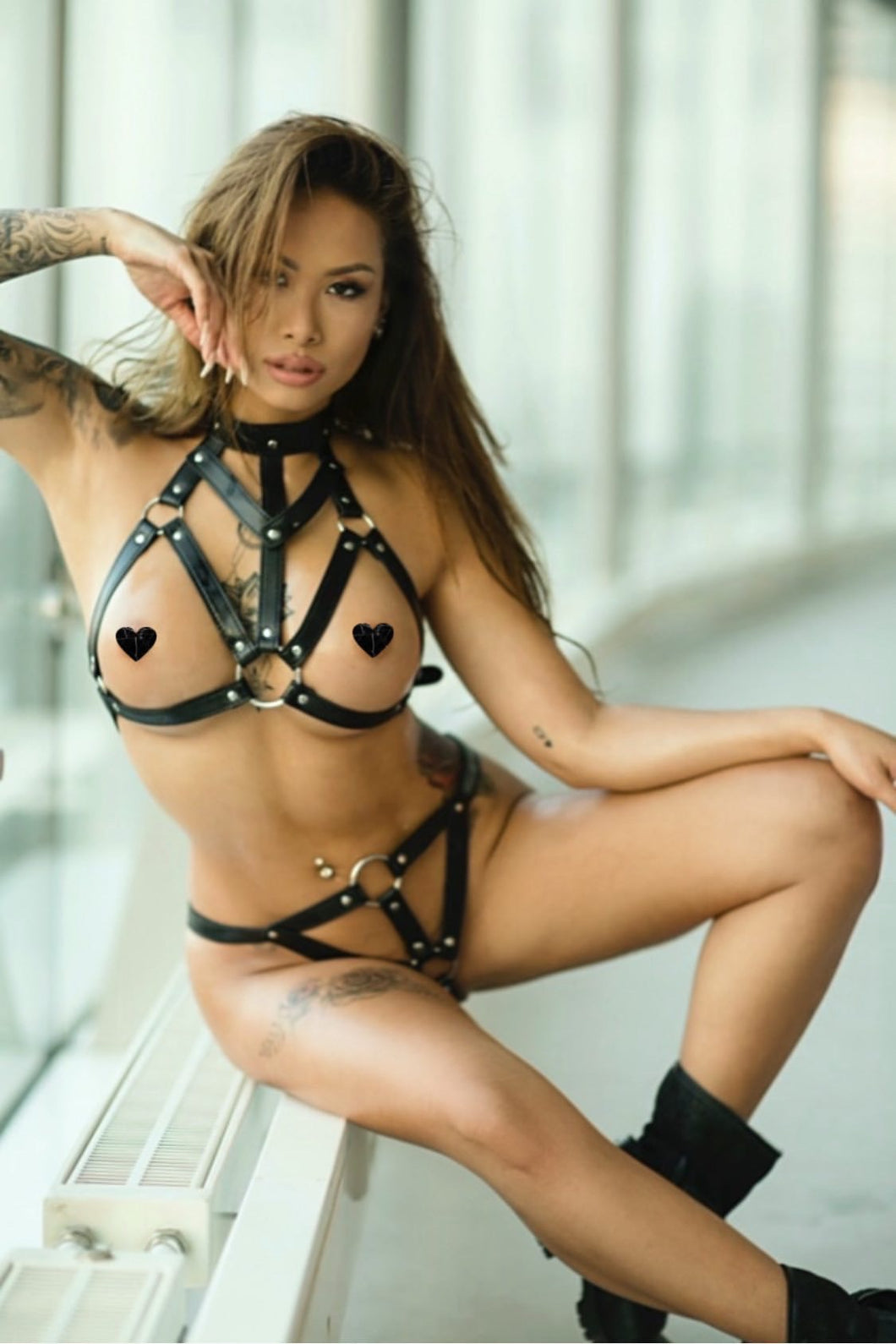 The  SASSY black PU leather harness 2 pieces - 7880