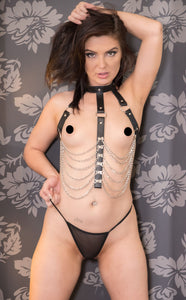 The 7865 Leather Bondage Halter top Harness