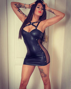 621 Pvc Wet Look Mini Dress - For Clubwear or even Bondage M-XL