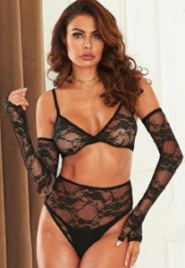 'La Femme' Black Bra / Knickers and Sleeve Set