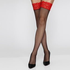 Black Fishnet Stockings Hold Ups With Red Floral Lace
