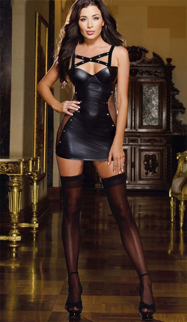 621 Pvc Wet Look Mini Dress - For Clubwear or Bondage