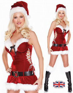 Miss Sexy Santa Ladies Christmas Outfit Xmas Womens Fancy Dress lingerie Costume 88014