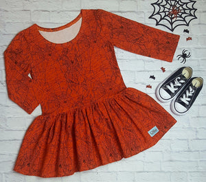 Orange and Black Spiderweb Quinn Tunic with 3/4 Sleeves