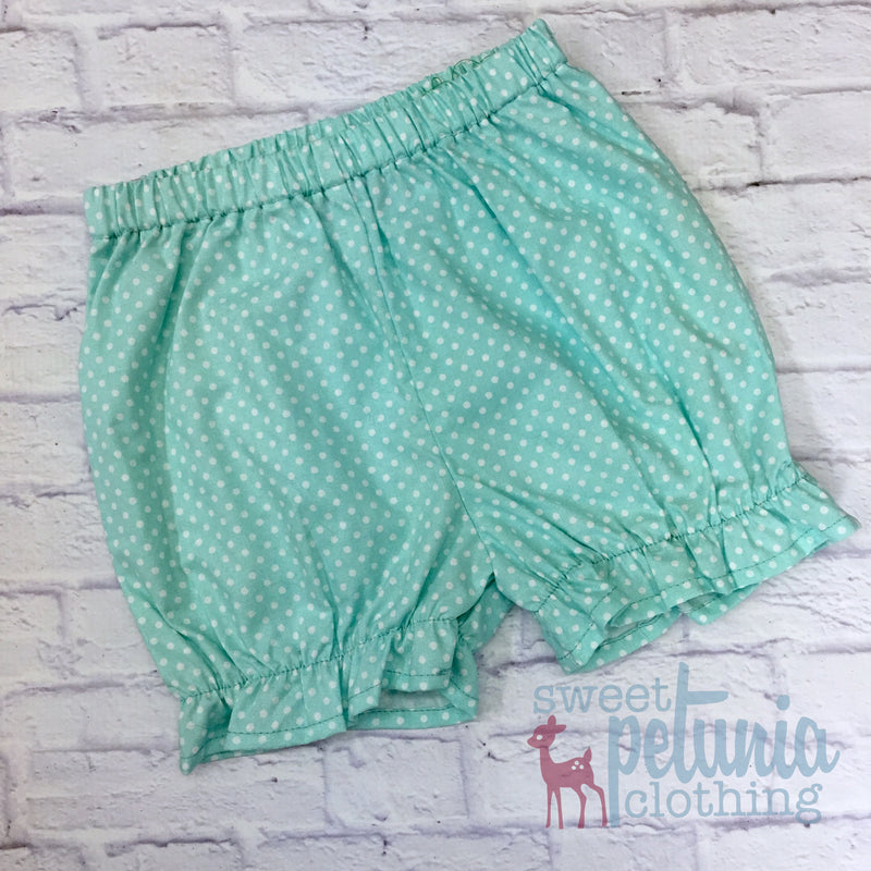 Bloomers - Seafoam and White Pin Dot Bloomers