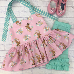 Bambi Pink and Aqua Peplum Tunic