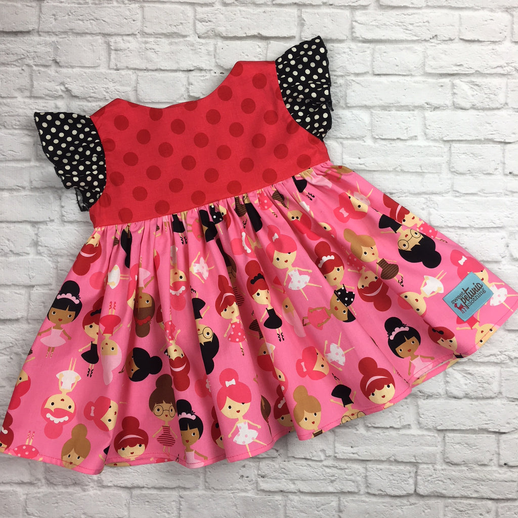 Red and Pink Ballerina Girl Tunic