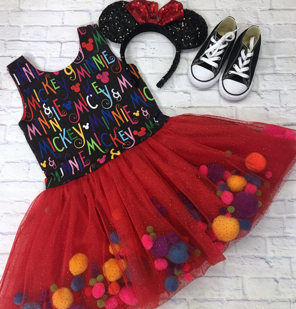 Red and Black Mickey and Minnie Pom Pom Dress